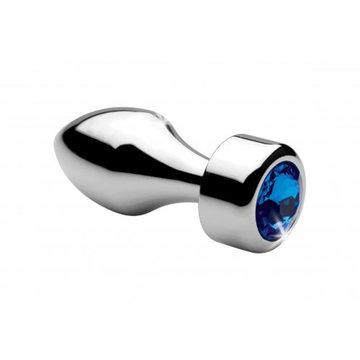 Aluminum Buttplug Met Blauw Kristal - Klein