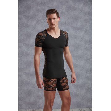 T-Shirt Met Netstof Mouwtjes - Zwart