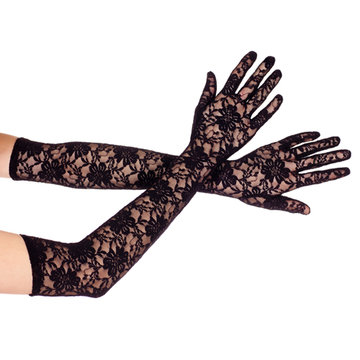 Lange Kanten Handschoenen - Zwart