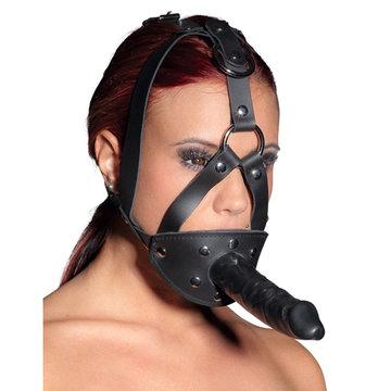 Lederen hoofdharnas met dildo en mondbal